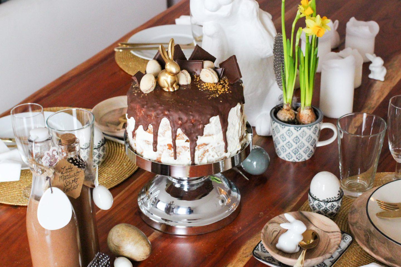Osterbrunch-Rezept: Goldiger Möhrenkuchen mit Caramel Inka Salz-Schokoladentopping