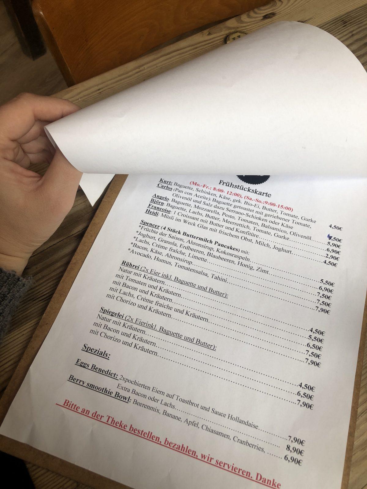Speisekarte Café Kurt Bonn
